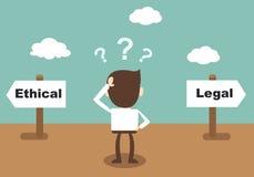 Etico e legale - l'uomo d'affari ha confuso la condizione al crossro Immagine Stock Libera da Diritti