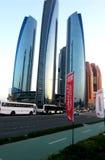 Etihad塔是大厦复合体与五个塔在阿布扎比,阿联酋首都的 库存照片