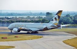 An Etihad Airways (EY) Airbus A380 Royalty Free Stock Images
