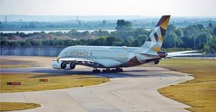An Etihad Airways (EY) Airbus A380 Royalty Free Stock Image