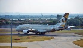 An Etihad Airways (EY) Airbus A380 Royalty Free Stock Photo