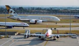 An Etihad Airways (EY) Airbus A380 Stock Photo