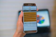 Etihad Airways web site on mobile phone royalty free stock photo