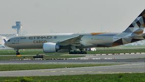 Etihad Cargo plane in Frankfurt Airport, FRA. Etihad Cargo Airplane taxiing on runway, Frankfurt Airport, FRA Germany stock video