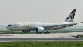 Etihad Cargo doing taxi on runway, Frankfurt Airport, FRA. Germany stock video