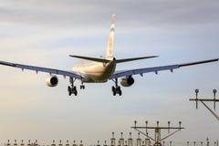 Etihad jet landing Stock Photo
