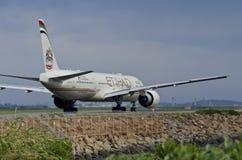 Etihad Plane Taxi Behind Stock Image