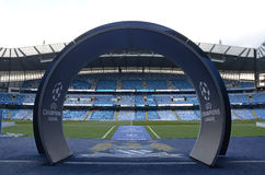 Etihad Stadium - Manchester City Arena. View of Etihad Stadium prior to the UEFA Champions League semi-final game between Manchester City and Real Madrid on Stock Image