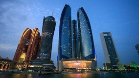 Etihad Towers in Abu Dhabi stock footage