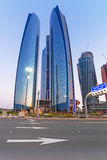Etihad Towers buildings in Abu Dhabi at dusk Royalty Free Stock Image