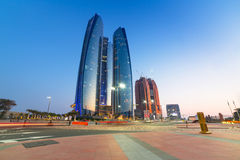 Etihad Towers buildings in Abu Dhabi at dusk Royalty Free Stock Photos