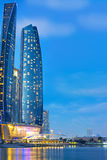 Etihad Towers buildings in Abu Dhabi at night Royalty Free Stock Image