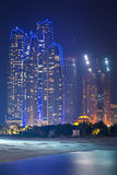Etihad Towers buildings in Abu Dhabi at night Stock Photos