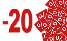 Etiket -20% van de korting Stock Fotografie