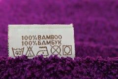 Etiket 100% bamboe Stock Afbeelding