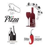 Etiket dat voor restaurant, koffie, staaf en wijnbereiding wordt geplaatst Royalty-vrije Stock Foto's