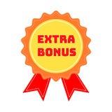 Etiket of kenteken met tekst extra die bonus op witte achtergrond wordt geïsoleerd Super bonuszegel Vector illustratie vector illustratie