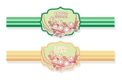 Etiket met bloemenpatroon Royalty-vrije Stock Afbeelding