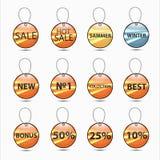 Etiket met een lint voor kortingen in de winkel Stock Foto