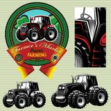 Etiket met een tractor voor vee en gewas vector illustratie
