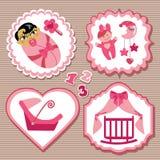 Etiket met elementen voor Aziatisch pasgeboren babymeisje dat wordt geplaatst Stock Afbeelding