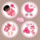 Etiket met elementen voor meisje van de mulat het pasgeboren baby Stock Afbeeldingen