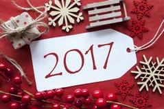 Etiket met Kerstmisdecoratie, Tekst 2017 Royalty-vrije Stock Foto's