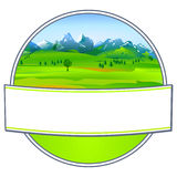 Etiket met landschap Royalty-vrije Stock Foto's
