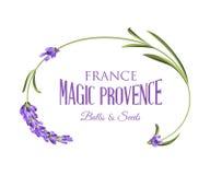 Etiket met lavendel stock illustratie
