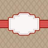 Etiket met lege ruimte voor tekst op bruine uitstekende achtergrond Damastpatroon, vectorillustratie royalty-vrije illustratie