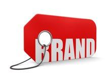 Etiket met Merk (het knippen inbegrepen weg) Stock Foto's