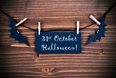 Etiket met 31 Oktober Halloween Royalty-vrije Stock Afbeelding
