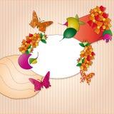 Etiket met oranje en roze decoratie Stock Afbeelding