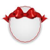 Etiket met rode boog Royalty-vrije Stock Foto's