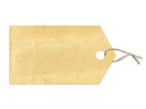 Etiket met sepia document textuur, op wit wordt geïsoleerd dat Royalty-vrije Stock Foto