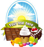 Etiket met snoepjes Stock Fotografie