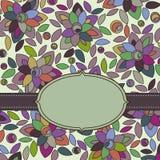 etiket op bloemenachtergrond Stock Fotografie