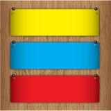 Etiket op houten raad Stock Fotografie