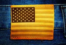 Etiket op jeans met de vlag van de V.S. Stock Foto