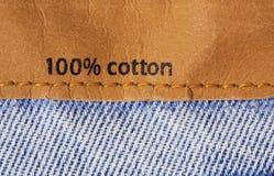Etiket op jeansweefsel Stock Afbeelding