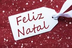 Etiket op Rode Achtergrond, Sneeuwvlokken, Feliz Natal Means Merry Christmas Stock Fotografie