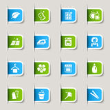 Etiket - Schoonmakende Pictogrammen Stock Afbeelding