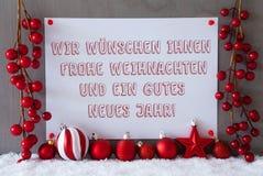 Etiket, Sneeuw, Kerstmisballen, de Middelennieuwjaar van Gutes Neues Royalty-vrije Stock Afbeelding