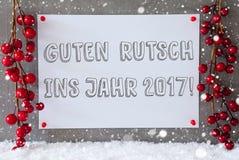 Etiket, Sneeuwvlokken, Kerstmisdecoratie, Guten Rutsch 2017 Middelennieuwjaar Stock Foto