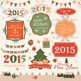 Etiket of sticker voor Kerstmis en Nieuwjaarviering Royalty-vrije Stock Foto's