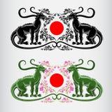 etiket twee van de bloesem van het hanamifestival van Japan van sakura met draken Royalty-vrije Stock Afbeeldingen