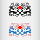 Etiket twee van de bloesem van het hanamifestival van Japan van sakura met draken en rode cirkel van het midden van Japan Royalty-vrije Stock Foto