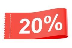 20% etiket van de kortings het rode kleding Royalty-vrije Stock Foto's