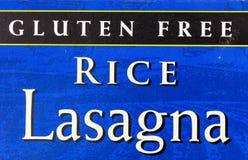 Etiket van het de lasagnavoedsel van de gluten het vrije rijst royalty-vrije stock foto