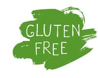 Etiket van het gluten het vrije voedsel en hoog - de kentekens van het kwaliteitsproduct Bio organische Ecohealthy, 100 bio en na stock illustratie